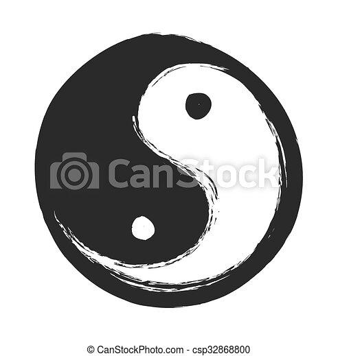 hand drawn ying yang symbol - csp32868800