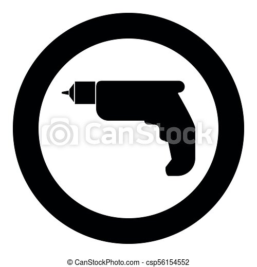 Hand drill icon black color in circle - csp56154552