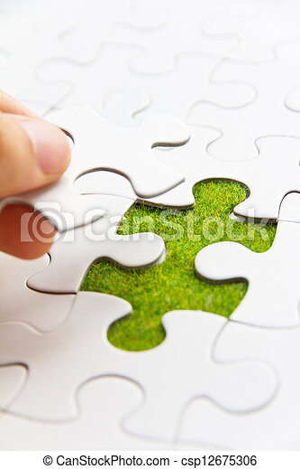Hand embed missing puzzle piece - csp12675306