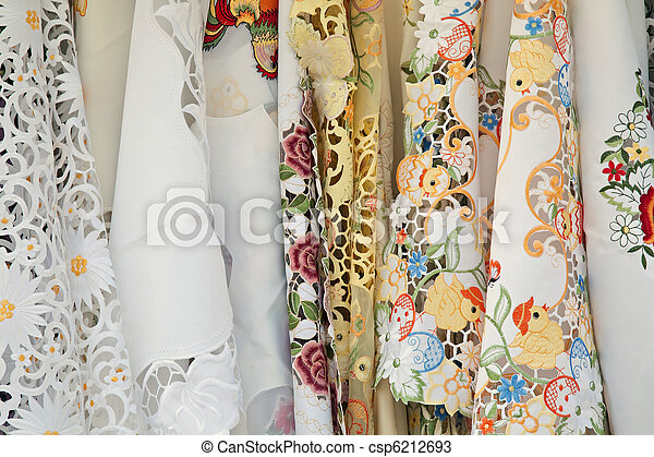 hand-embroidered tablecloth - csp6212693