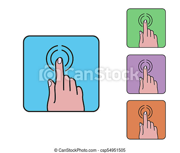 hand finger click icon, colored outline cartoon simple flat vector on blue rounded square, touch screen symbol - csp54951505