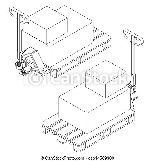Hand Fork Lift Truck And Pallet Isometric Outline Drawing Hand Fork