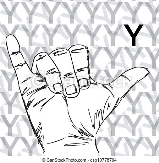 Sketch Of Sign Language Hand Gestures Letter Y