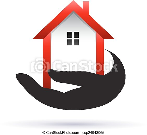 Hand getting a  house, real estate icon - csp24943065