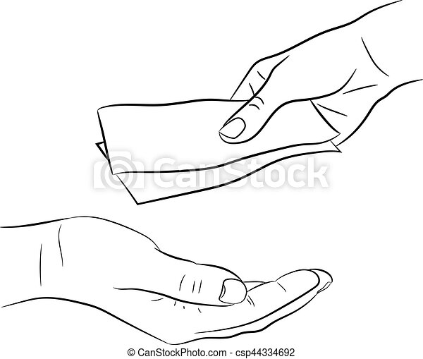 hand, giving and taking money bills of monochrome vector illustration - csp44334692