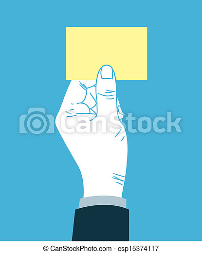 Hand giving blank business card - csp15374117