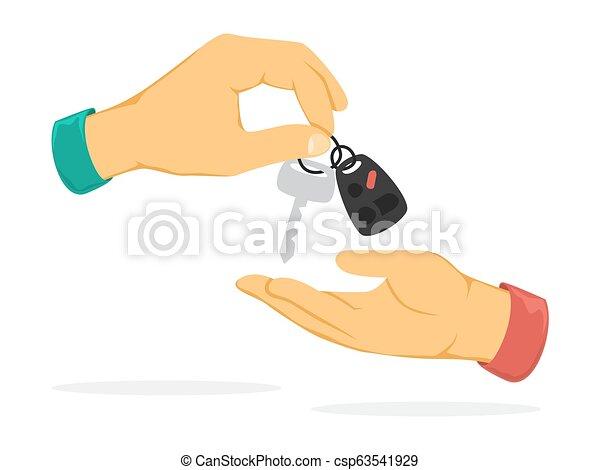 Hand giving car key. Idea of loan and car rental - csp63541929