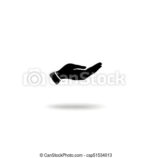 Hand giving gesture silhouette. Give alms icon on a white background - csp51534013