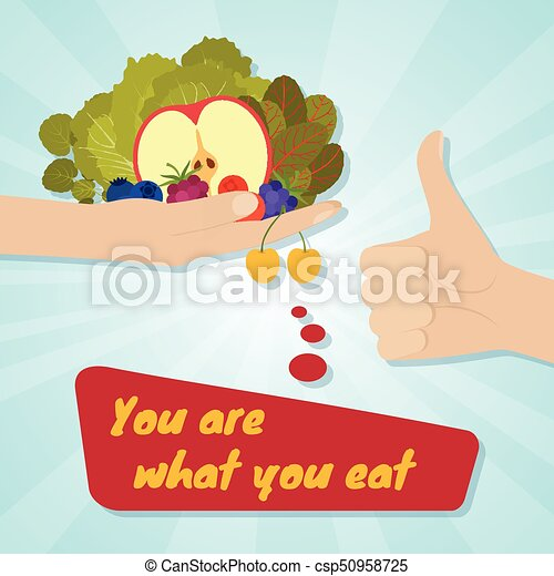 Hand giving healthy eating. food choice concept. you are ...