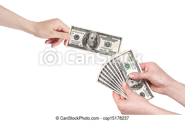 Hand giving money to other hand isolated - csp15178237