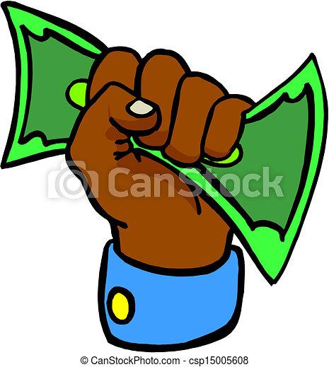 hand giving money  - csp15005608