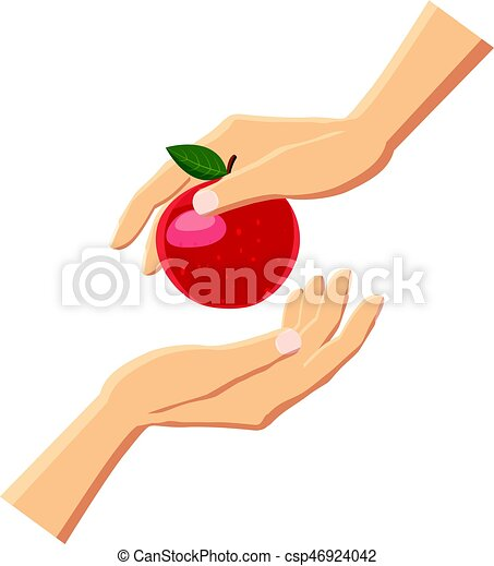 Hand giving red apple icon, cartoon style - csp46924042