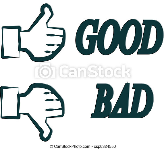 Hand Good Bad Stock Illustration - Search Clipart, Drawings And