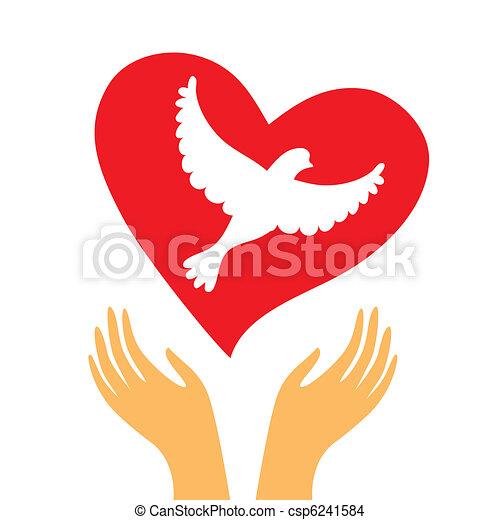 hand-heart-dove - csp6241584