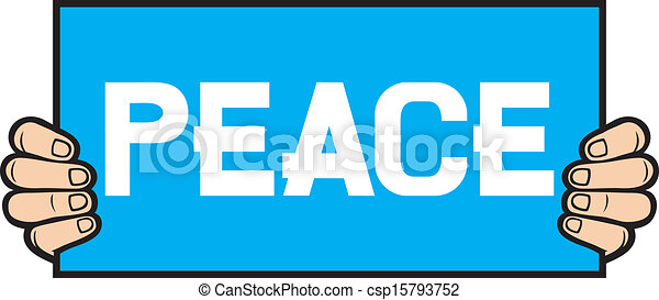 hand held a banner - peace - csp15793752