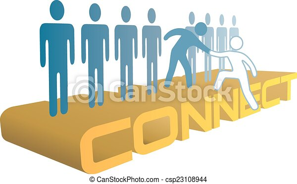 Hand help up connect to join people group - csp23108944