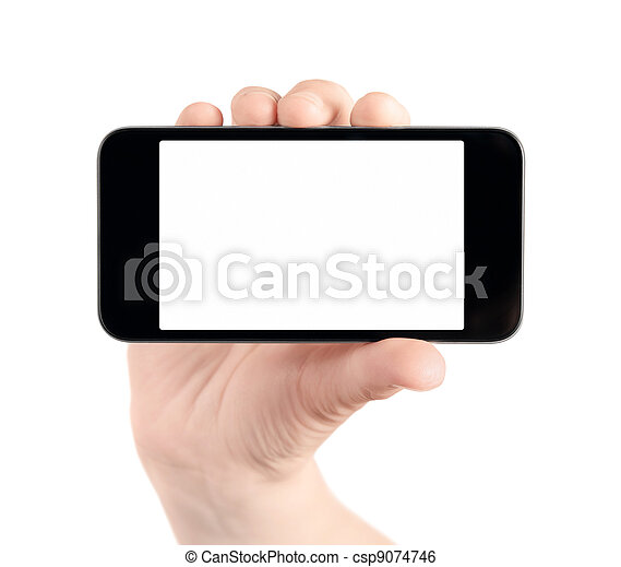 Hand Hold Blank Mobile Phone Isolated - csp9074746