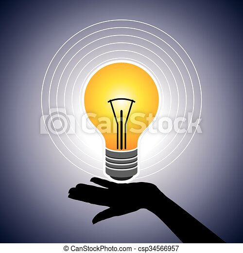Hand Hold Bright Light Bulb