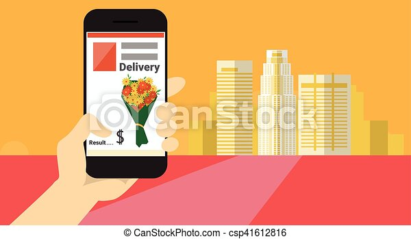 Hand Hold Cell Smart Phone Application Online Flower Delivery Banner - csp41612816
