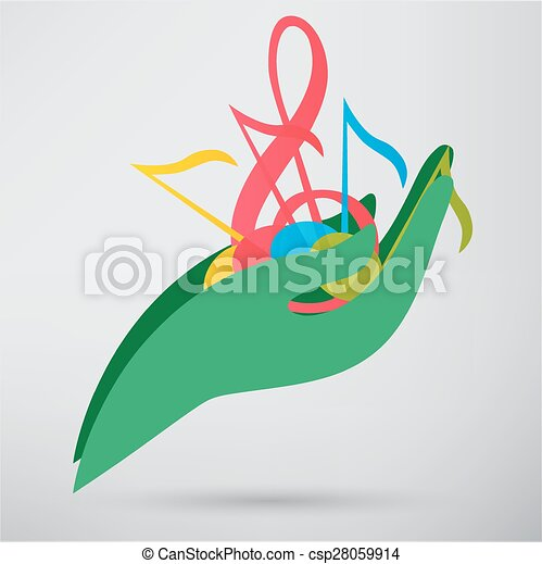 hand hold music note vector icon - csp28059914