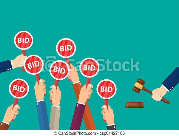 Hand Hold Paddle With Bid Auction Meeting Business Bidding Process Concepttemplate For Open Trade Many Offers Good Prices