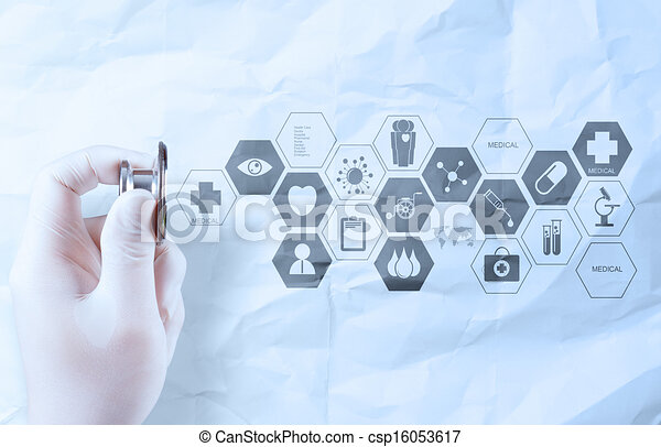 hand hold  stethoscope showing medical concept on crumpled paper background - csp16053617