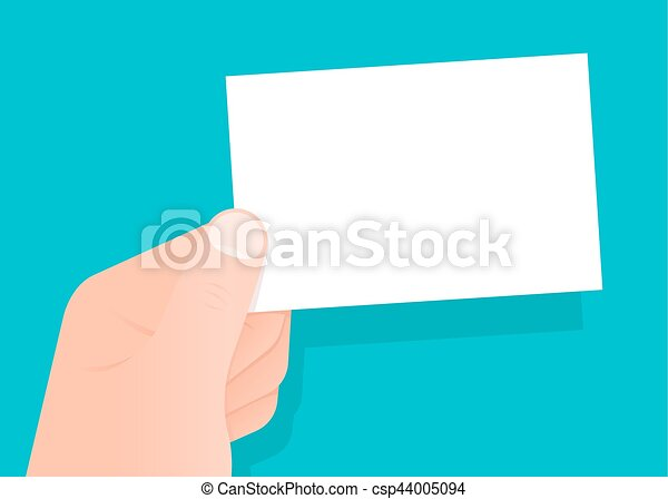 Hand holding a blank white business card - csp44005094