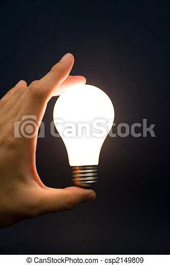 Hand holding a Bright Light Bulb - csp2149809