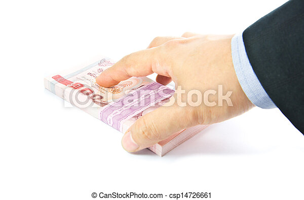 Hand holding a bulk of 100 baht Thailand banknote  - csp14726661