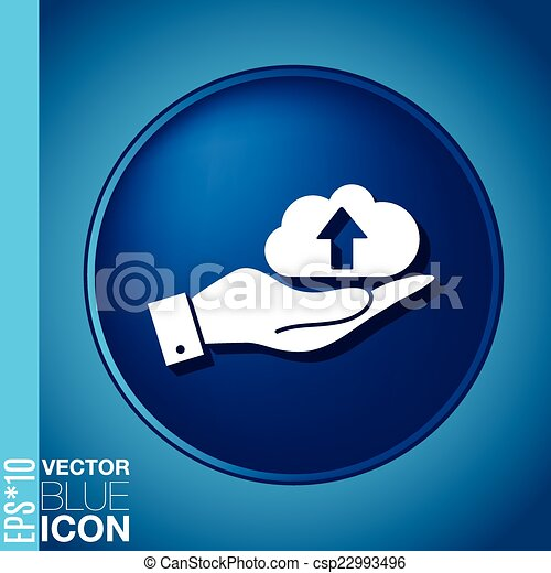 hand holding a cloud download. icon download files - csp22993496