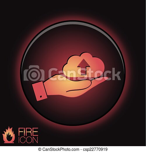 hand holding a cloud download. icon download files - csp22770919