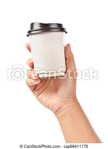 Hand holding a coffee cup isolated on white. - csp66411176