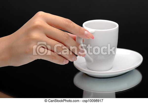 Hand holding a coffee cup - csp10098917