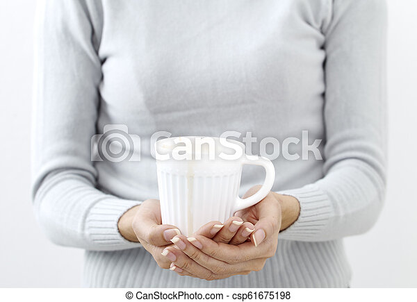 hand holding a coffee cup - csp61675198