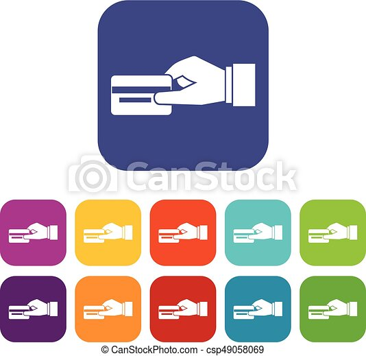 hand holding a credit card icons set vector illustration in clip rh canstockphoto co uk credit card logo vector images credit card logo vector images