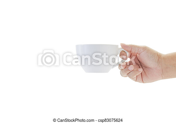 hand holding a cup of coffee on white - csp83075624