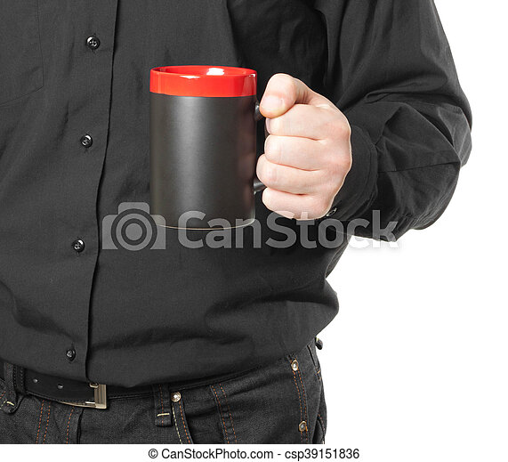 hand holding a cup of coffee on white - csp39151836