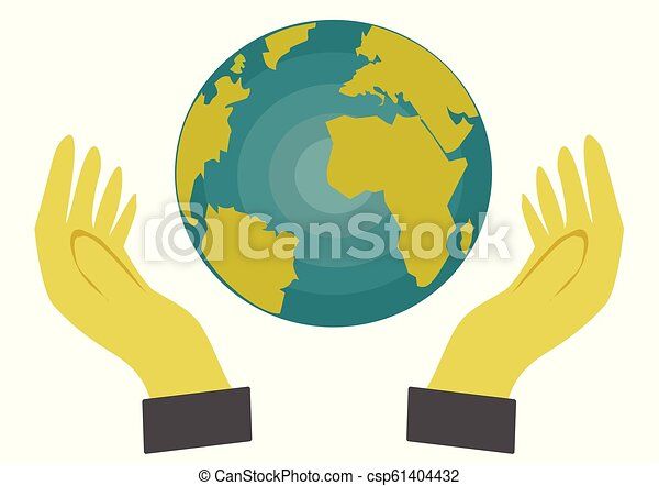 Hand holding a globe on white background, - csp61404432