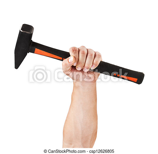 Hand holding a hammer, isolated on white - csp12626805