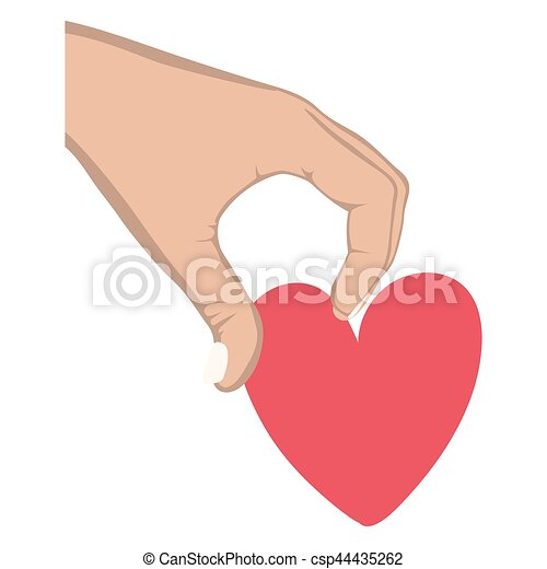 hand holding a heart design icon - csp44435262