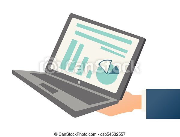 hand holding a laptop with chart and diagram