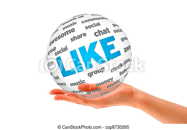 Hand holding a Like 3D Sphere  - csp8730265