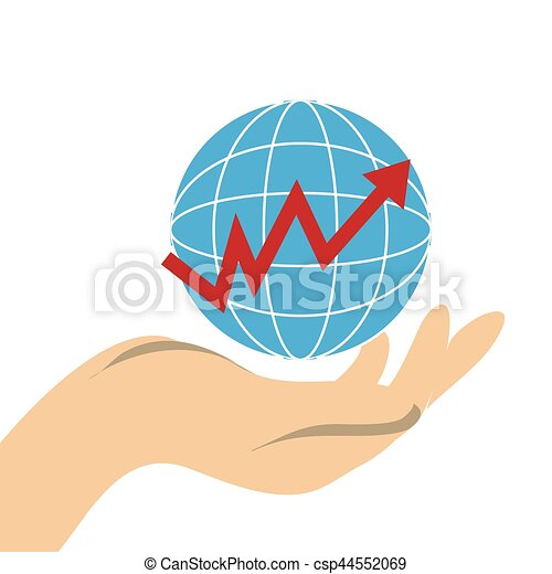 Hand holding a map world with line with rising arrow vector hand holding a map world with line with rising arrow vector gumiabroncs Image collections
