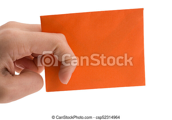 hand holding a red envelope on white background - csp52314964