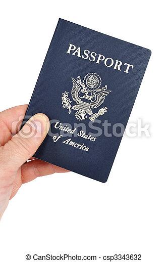 Hand Holding an American Passport - csp3343632