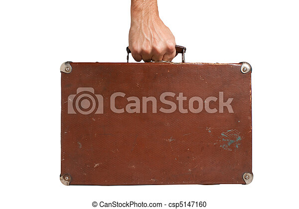 hand holding an old suitcase - csp5147160