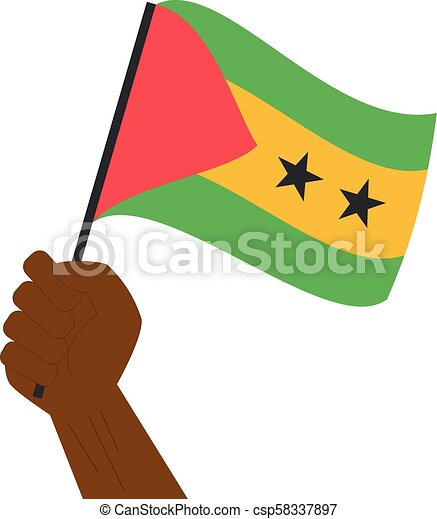 Hand holding and raising the national flag of Sao Tome and Principe - csp58337897