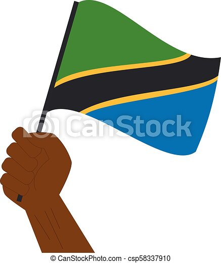 Hand holding and raising the national flag of Tanzania - csp58337910