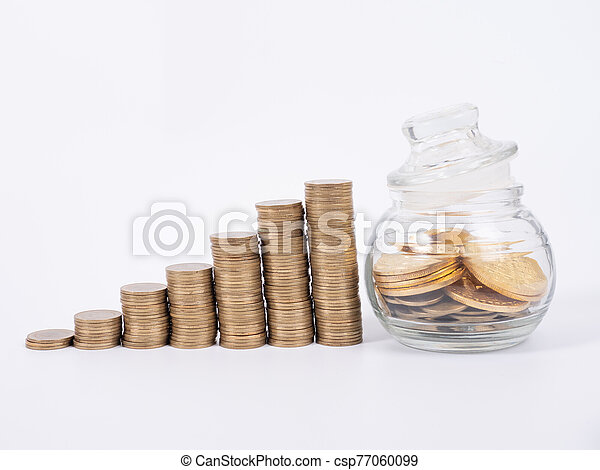 Hand Holding Bitcoin and many coin and clock for saving money concept on white background - csp77060099