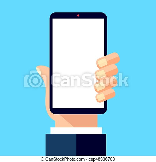 hand holding black smartphone with white screen mobile vector rh canstockphoto com mobile vectra #2 mobile vectra #2 sds